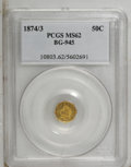 California Fractional Gold: , 1874/3 50C Indian Octagonal 50 Cents, BG-945, High R.4, MS62 PCGS.PCGS Population (11/31). (#10803)...