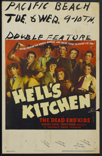 "Hell's Kitchen (Warner Brothers, 1939). Window Card (14"" X 22""). The Dead End Kids were a young group of actor..."