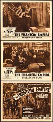 """The Phantom Empire (Mascot, 1935). Title Lobby Card and Lobby Cards (2)(11"""" X 14""""). Chapter 9 -- """"Prisone..."""