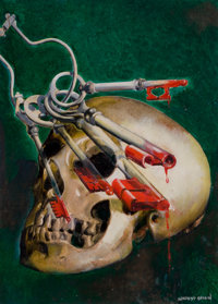 MODEST STEIN (American, 1871-1958) Skull and Keys, Shadow digest cover, March 1945 Oil on board 1