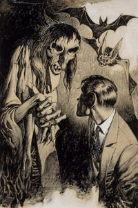 EDD CARTIER (American, b. 1914) Confronting the Witch, pulp magazine interior story illustration Ink