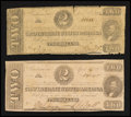 Confederate Notes:1862 Issues, T54 $2 1862. T61 $2 1863.. ... (Total: 2 notes)