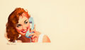 Pin-up and Glamour Art, GIL ELVGREN (American, 1914-1980). Red Head on the Phone.Oil on board. 18 x 30 in.. Signed lower left. From theEst...