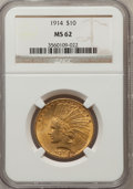 Indian Eagles: , 1914 $10 MS62 NGC. NGC Census: (656/469). PCGS Population(598/537). Mintage: 151,050. Numismedia Wsl. Price for problemfr...