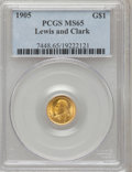 Commemorative Gold: , 1905 G$1 Lewis and Clark MS65 PCGS. PCGS Population (230/70). NGCCensus: (126/56). Mintage: 10,000. Numismedia Wsl. Price ...