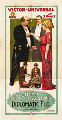 "Diplomatic Flo (Universal Film Manufacturing, 1914). Three Sheet (41"" X 81"")"