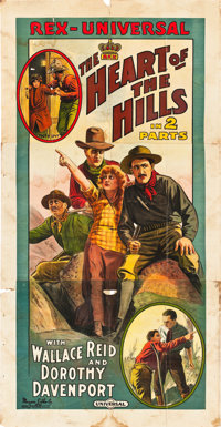 """The Heart of the Hills (Universal Film Manufacturing, 1914). Three Sheet (41"""" X 81"""")"""