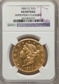 Liberty Double Eagles: , 1883-CC $20 -- Improperly Cleaned -- NGC Details. AU. NGC Census:(108/760). PCGS Population (140/342). Mintage: 59,962. Nu...