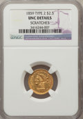 Liberty Quarter Eagles: , 1859 $2 1/2 New Reverse, Type Two -- Scratched -- NGC Details. Unc.NGC Census: (3/38). PCGS Population (1/30). Mintage: 39...