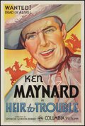 "Movie Posters:Western, Heir to Trouble (Columbia, 1935). One Sheet (27"" X 41""). Western....."