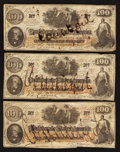 Confederate Notes:1862 Issues, CT41/315 Counterfeit $100 1862 Three Examples.. ... (Total: 3notes)