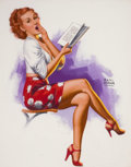 Pin-up and Glamour Art, EARL MORAN (American, 1893-1984). Pin-Up Reading. Pastel onboard. 26 x 19.5 in.. Signed center right. From the Esta...