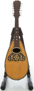 Musical Instruments:Banjos, Mandolins, & Ukes, 1900's Washburn 12-String Bowlback Natural Mandolin, Serial #0 191....