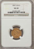Liberty Quarter Eagles: , 1857-S $2 1/2 VG10 NGC. NGC Census: (2/168). PCGS Population(1/113). Mintage: 69,200. Numismedia Wsl. Price for problem fr...