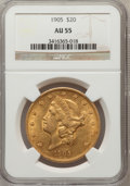 Liberty Double Eagles: , 1905 $20 AU55 NGC. NGC Census: (62/655). PCGS Population (53/520).Mintage: 58,900. Numismedia Wsl. Price for problem free ...