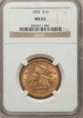 Liberty Eagles: , 1890 $10 MS63 NGC. NGC Census: (6/1). PCGS Population (15/1).Mintage: 57,900. Numismedia Wsl. Price for problem free NGC/P...