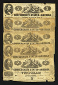 Confederate Notes:1862 Issues, T42 $2 1862 Seven Examples.. ... (Total: 7 notes)
