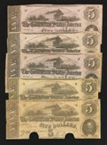 Confederate Notes:1862 Issues, T53 $5 1862 Five Examples.. ... (Total: 5 notes)