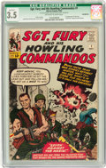 Silver Age (1956-1969):War, Sgt. Fury and His Howling Commandos #1 (Marvel, 1963) CGC Qualified VG- 3.5 Off-white to white pages....