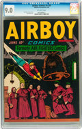 Golden Age (1938-1955):War, Airboy Comics V3#5 (Hillman Fall, 1946) CGC VF/NM 9.0 Off-whitepages....