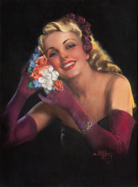 ZOE MOZERT (American, 1904-1993) Blonde with Flower Hair Dress Pastel on board 27.5 x 20.5 in
