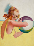 Pin-up and Glamour Art, EARLE BERGEY (American, 1901-1952). Beach Ball Beauty. Oilon canvas. 32 x 24 in.. Signed lower right. From the Esta...