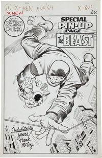 Jack Kirby and Chic Stone X-Men #8 The Beast Special Pin-Up Page Original Art (Marvel, 1964)