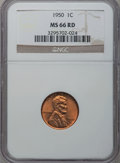 Lincoln Cents, 1950 1C MS66 Red NGC; (2)1954-S 1C MS66 Red NGC and (2)1955-S 1C MS66 Red NGC.... (Total: 5 coins)