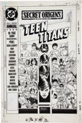 Original Comic Art:Covers, George Perez Secret Origins Annual #3 The Teen Titans Cover Original Art (DC, 1989)....