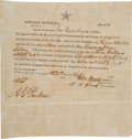 "Miscellaneous:Ephemera, Texas First Class Head Right Grant of Land in Jasper County Signed""John Bevil"" as President, ""W.H. Stark"" as Commis..."