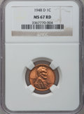 Lincoln Cents: , 1948-D 1C MS67 Red NGC. NGC Census: (128/0). PCGS Population (41/0). Mintage: 172,637,504. Numismedia Wsl. Price for proble...