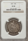 Seated Half Dollars: , 1861 50C XF40 NGC. NGC Census: (5/344). PCGS Population (26/389).Mintage: 2,888,400. Numismedia Wsl. Price for problem fre...