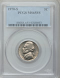 Jefferson Nickels: , 1970-S 5C MS65 Full Steps PCGS. PCGS Population (19/2). NGC Census:(1/2). (#84085)...