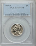 Jefferson Nickels: , 1980-D 5C MS66 Full Steps PCGS. PCGS Population (22/0). NGC Census:(10/0). (#84105)...