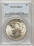 Peace Dollars, 1927 $1 MS63+ PCGS. PCGS Population (2187/1867). NGC Census:(1412/1043). Mintage: 848,000. Numismedia Wsl. Price for probl...