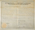 "Autographs:Statesmen, David G. Burnet Republic of Texas Land Grant Signed ""David G. Burnet"" as president and Thomas W. Ward as commissioner of..."