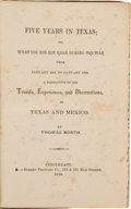 Books:Americana & American History, Thomas North. Five Years in Texas; or, WhatYou Did Not Hear During the War From January 1861 to...