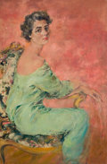 Pin-up and Glamour Art, HOWARD CHANDLER CHRISTY (American, 1872-1952). Portrait of aLady in Green. Oil on canvas. 44.5 x 29.5 in.. Signed lower...