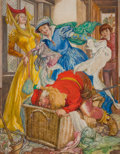 Pulp, Pulp-like, Digests, and Paperback Art, WILLY POGANY (Hungarian-American, 1882-1955). Fairy tale storyillustration. Mixed media on board. 22.5 x 18 in.. Signed...
