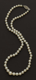 Estate Jewelry:Pearls, Graduated Cultured Pearl Necklace. ...