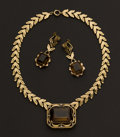 Estate Jewelry:Coin Jewelry and Suites, Gold & Smokey Topaz Necklace & Earring Suite. ...