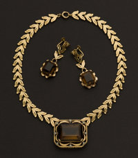 Gold & Smokey Topaz Necklace & Earring Suite