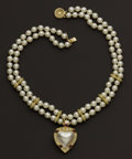 Estate Jewelry:Necklaces, Pearl, Diamond & Ruby Necklace & Enhancer. ...