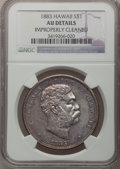 Coins of Hawaii: , 1883 $1 Hawaii Dollar -- Improperly Cleaned -- NGC Details. AU. NGCCensus: (21/157). PCGS Population (58/194). Mintage: 50...