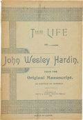 Books:Biography & Memoir, [John Wesley Hardin]. The Life of John Wesley Hardin,from the Original Manuscript, as written by himself....