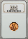 Lincoln Cents: , 1935-D 1C MS67 Red NGC. NGC Census: (356/0). PCGS Population(72/1). Mintage: 47,000,000. Numismedia Wsl. Price for problem...