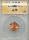 Lincoln Cents: , 1983 1C Doubled Die Reverse MS63 Red and Brown ANACS. FS-801 Die 1.PCGS Population (37/74). Numismedi...