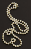 Estate Jewelry:Pearls, Pearl Necklace With Pearl & Diamond Clasp. ...