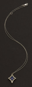 Estate Jewelry:Necklaces, White Gold Necklace With Duo Form Diamond & Sapphire Pendant. ...