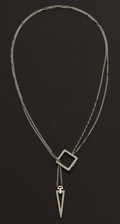 Estate Jewelry:Necklaces, Lady's Adjustable White Gold & Diamond Necklace. ...
